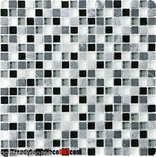 10-SF black gray stone Glass Mosaic Tile kitchen backsplash wall bathroom shower