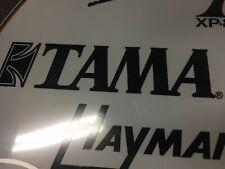 Tama Black Replica Logo Vintage Replacement Sticker/Decal (Hi Quality 3M