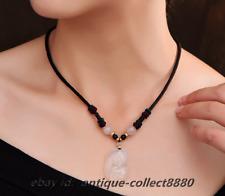 Pretty Chinese Xiu Jade Fox/Powder Crystal HandWoven Adjustable Necklace Pendant