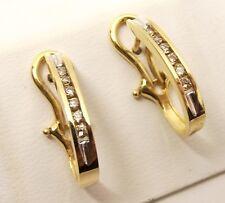 14K Gold Genuine Diamond Omega French Back Earrings .24 Carat TCW Modern