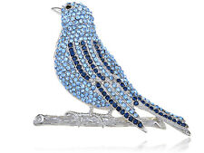 Hand Crafted Silver Blue Bird Fly Sapphire Diamante Rhinestone Pin Brooch Jewel