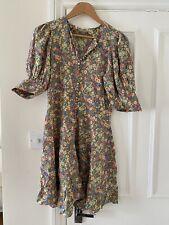 DOEN Floral Printed Silk Button Down Mini Dress Sz S