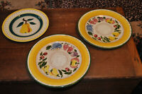 """Stangl Hand Painted Pottery 2 9.5"""" Festival Dinner Plates + Fruit Pattern Bread"""