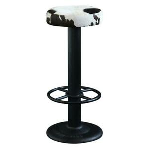 Pole Bar Stool Black & White with Black Metal Base 67 cm Commercial Kitchen