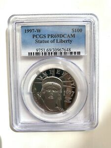 1997-W $100 STATUE OF LIBERTY AMERICAN EAGLE PROOF 1 OZ PLATINUM PCGS PR69DCAM