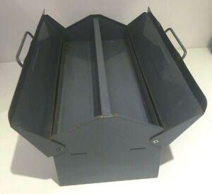 VINTAGE CHARCOAL GREY METAL TOOL BOX INDUSTRIAL CRAFT STORAGE FLIP TOP LID Y78