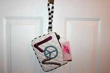 NEW NWT Luv Betsey Johnson Quilted Wristlet Purse Wallet Clutch Love Peace Bling
