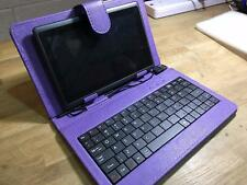 "Purple USB Keyboard Leather Case/Stand for 7"" Coby Kyros Android Tablet PC"