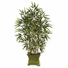 Nearly Natural 5419 4 ft. Bamboo Silk Tree with Decorative Planter NEW