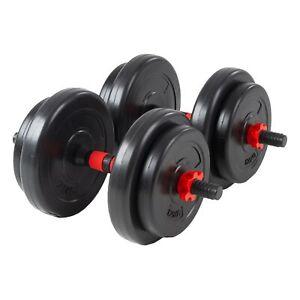 Par de mancuernas 2x 10kg vinilo cemento barras 8 discos de peso fitness en casa