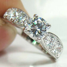 Carat Simulated Moissanite Ring Size 9 18K White Gold On Silver Brilliant 1.66