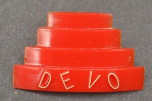 VINTAGE 1978 DEVO Promotional Plastic Pin Button Punk New Wave