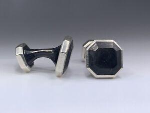 "$ 595 DAVID YURMAN  Sterling Silver Forged Carbon Cuff Links 0.86"""