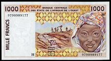 """WEST AFRICAN STATES """"H"""" NIGER 1000 FRANCS 1997 P-811 UNC (A-104)"""