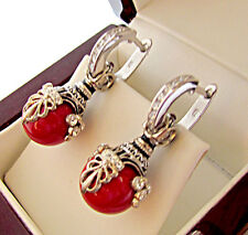 SALE ! EXQUISITE  EARRINGS STERLING SILVER 925 with GENUINE CORAL and ENAMEL