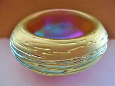 SMALL Gold Aurene LUNDBERG STUDIOS Art Glass BOWL Iridescent RARE Mind Bending