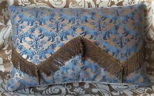 """Fortuny """"Rechelieu"""" Pillow Blue & Gold Velvet Back"""