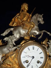 Antique French Marble & Ormolu Mantle Clock - Hunting Scene with Dogs