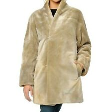 Sherry Cassin Illusion Faux Fur Reversible Coat $249.00 Small BEIGE New