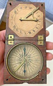 JW WATKINS Antique Wood Case Pocket COMPASS SUNDIAL Clock INSTRUMENT Bristol UK