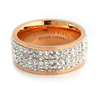 NWOT QVC Steel by Design Silk Fit Rose Gold Crystal Eternity Band Ring sz 7.5