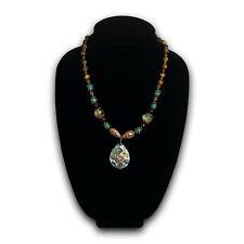 Tree of Life Pendant Necklace W/ Malachite, Agate,  glass, & metal beads