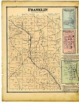 1870 Map of Franklin, Ohio, with family names, from Atlas of Columbiana County