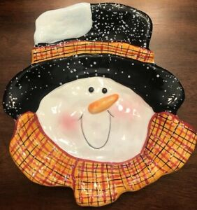 NEW COBBLE CREEK SNOWMAN HOLIDAY CERAMIC PLATTER IN ORIGINAL BOX 9.25 X 8 IN.