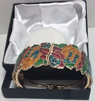 Qvc Enamel Bangle hinged Bracelet Floral ladies multi color 14k Gold plated NIB