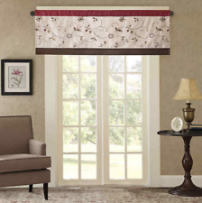 Madison Park Andora 50 x 18 Faux-Silk Embroidered Window Valance Red