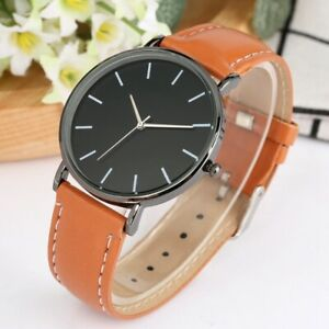 Simple Design Men Women Analog Quartz Wrist Watch Leather Bracelet Strap Gift