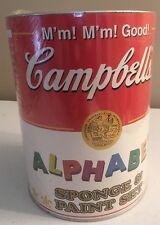 Campbell's Soup Collectible Alphabet Sponge & Paint Set NIB Sealed 1998 Vintage