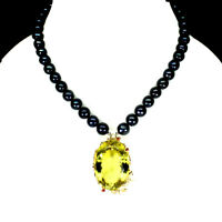 Handmade Oval 98.66ct Green Gold Quartz Sapphire 925 Sterling Silver Necklace