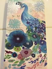 PUNCH STUDIO PEACOCK NOTE PAD MAGNETIC CLOSURE-SILVER FOIL EMBELISHED