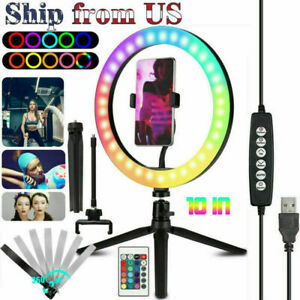 """10"""" RGB Beauty Fill Light LED Ring + Tripod Stand Dimmable Kit for Phone Stream"""