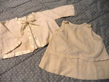 Antique Infant Clothes Baby Flannel Jacket w Ribbon Tie Muslin UnderSlip Ivory