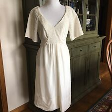 Banana Republic Silk Empire Pinafore Ivory DRESS Eyelet Bodice  Size 8