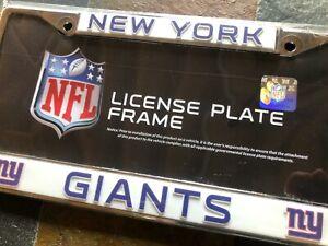 1 New York Giants Chrome Metal Vehicle License Plate Frame Nice 3D Graphics