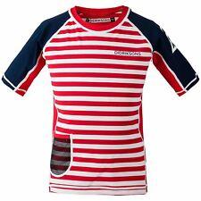 Didriksons Kids Surf Short Sleeve UPF50+ UV Sun Top Rash Vest| Chili Red Stripe