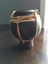 Lombok Hand thrown Clay Pot Open Pit Fired Earthenware with Basket Rim of Reed