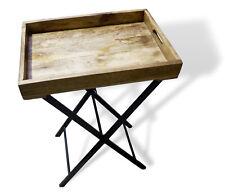 Tischtablett Tablett Mango Holz Serviertablett mit Gestell Beistelltisch Retro