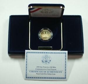 2006 San Francisco Old Mint $5 Gold Commemorative Proof Coin w/ Box COA