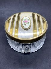Vintage Art Deco Vanity Glass Powder Jar With Brass & Enamel Rose Flower Lid