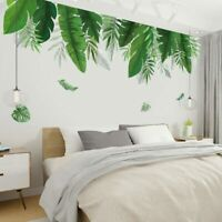 Tropical Plants Green Leaf Wall Stickers for Living Room Bedroom Art Decals DIY