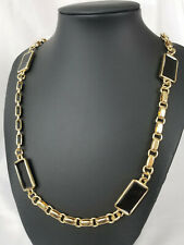 Kara Ross Opera Necklace Chain Link Enameled Rectangle Gold Tone 40""