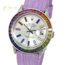 Rolex Unisex Datejust  SS Silver Rainbow Dial Rainbow Bezel Purple Nylon Watch