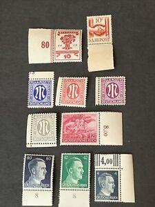 N5/6 World WWII German Stamps US Zone 10 Margin singles MNHOG great mint Coll
