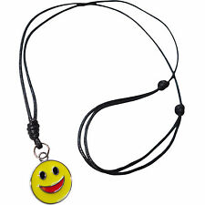 Smiley Face Metal Pendant Cord Chain Necklace Charm Mens Girls Boy Kid Jewellery
