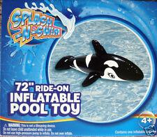 "SPLASH-N-SWIM KIDS INFLATABLE  ORCA WHALE POOL FLOAT,72"" RIDE-ON TOY,KIDS 4+,NEW"