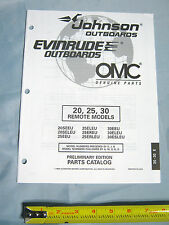 Johnson Evinrude 20HP, 25HP, 30HP Remote Model Outboard Boat Motor Parts Catalog
